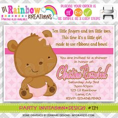 134 DIY Sweet Little Bear Party Invitation Or by LilRbwKreations