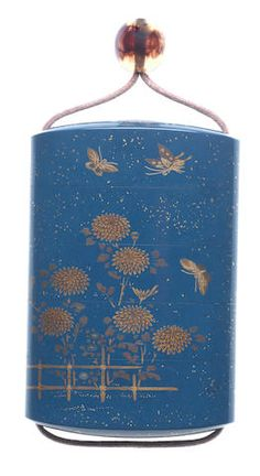 A RARE BLUE-LACQUER FOUR-CASE INRO Attributed to Heishusai (Ishibashi Sojiro, 1847-1918), Meiji (1868-1912) or Taisho (1912-1926) era , before 1918 Sold for £ 18,750 (US$ 26,405) inc. premium FINE JAPANESE ART. 12 May 2016.
