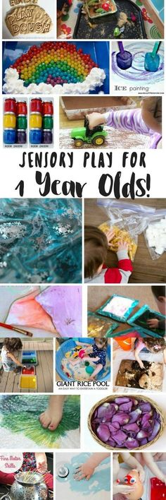 Tons of sensory activities for 1 year olds including sensory bags, sensory bottles, sensory bins, edible sensory play and more!