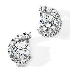 Jean Dousset 5.04ct Absolute™ Round Graduated C-Shape Earrings at HSN.com.