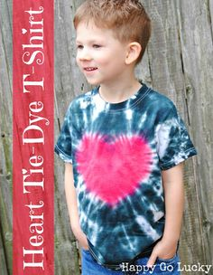 Make adorable heart tie-dyed t-shirts for both boys and girls.  All you need is a white t-shirt, two colors of tie-dye, rubber bands, and a heart template.  I promise - if I can do it, you can definitely do it and everyone will be impressed!!