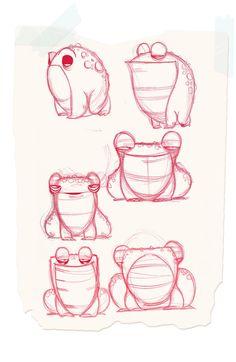 frogs by JGecek on deviantART Animal Sketches, Animal Drawings, Drawing Sketches, Frog Illustration, Character Illustration, Character Model Sheet, Character Drawing, Cartoon Drawings, Cute Drawings