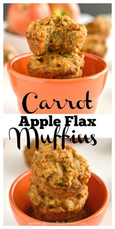Start your day with Healthy Carrot Apple Flax Muffins! Made with lighter and nutritious ingredients these portable snacks are bursting with flavor. A gluten free, low calorie breakfast or snack for spring!