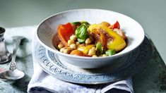 Fire up peppers and chickpeas with spicy harissa paste for a quick, tasty weeknight supper. Each serving provides 200kcal, 2.4g protein, 30g carbohydrate (of which 11g sugars), 7g fat (of which 1g saturates), 5g fibre and 1.1g salt.