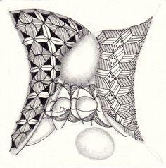 Ein Zentangle aus den Mustern Triaxal, V-Lampz, Zanella,  gezeichnet von Ela Rieger, CZT