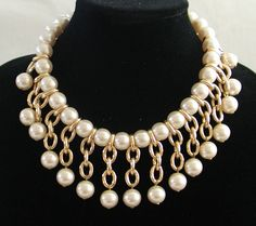 Vintage Necklace ... Pearl and Goldtone Necklace by TheVintageHandbag