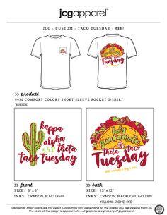 JCG Apparel : Custom Printed Apparel : Kappa Alpha Theta Taco Tuesday T-Shirt #kappaalphatheta #theta #kat #taco #tuesday #beef #lettuce #tomato #cactus #holyguacamole