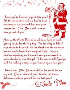 Free Printable Letter from Santa! Christmas printable from The Printable Party Shop..