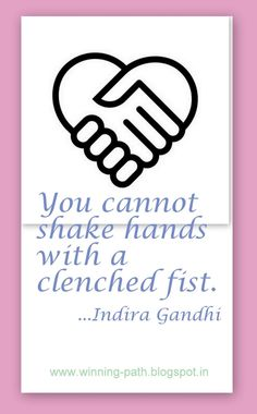 Winning Path-can't shake hands with a clinched fist....ew11113
