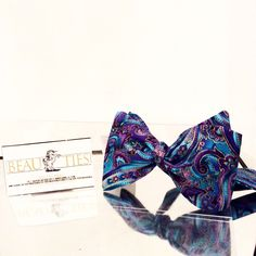 """Mens Bow Tie The """"Amir"""" A Beautiful Paisley Combination of Turquoise and Deep Purple w/ Gold Accents Available in Self Tie or Pre Tie by TheDistinguishedBeau on Etsy https://www.etsy.com/listing/195437264/mens-bow-tie-the-amir-a-beautiful"""