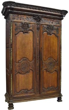 FRENCH LOUIS XV STYLE CARVED MARRIAGE ARMOIRE : Lot 1062