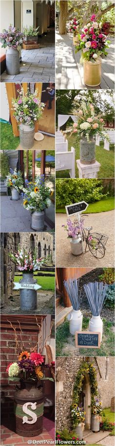 Country Wedding rustic country wedding ideas - milk churn wedding decor ideas / www. Country Wedding Flowers, Country Wedding Decorations, Wedding Themes, Rustic Wedding, Wedding Ideas, Country Weddings, Trendy Wedding, Our Wedding, Garden Wedding