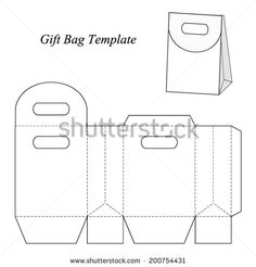 Gift bag template with round lid, vector illustration - stock vector