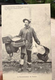 Antique French postcard basket vendor