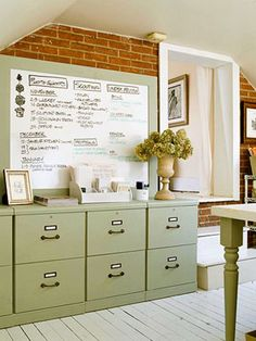 File cabinet idea: paint to blend in or create a focal point (rustoleum paint used here)