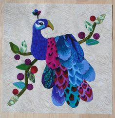 Peacock Applique block - free pattern download at Lemon Tree Tales
