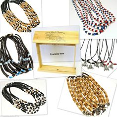 WHOLESALE  72 Surfer Necklaces FREE Wood Counter Display Coconut Shell Beads M1