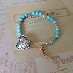 Turquoise Beaded Wrap Bracelet with Leather Closure - Jewelry from The Mermaid Apothecary via Etsy.com