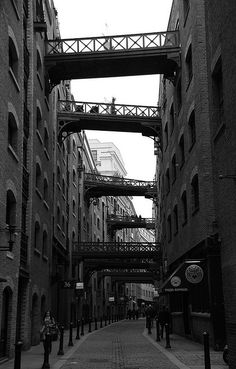 London alley with skybridges.