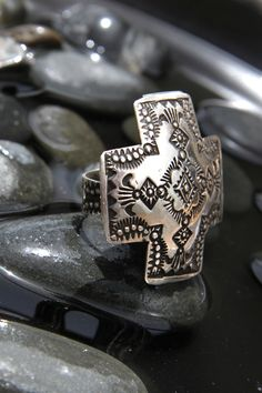 Vincent Platero Four Directions Sterling Silver Ring | Silver Eagle Gallery