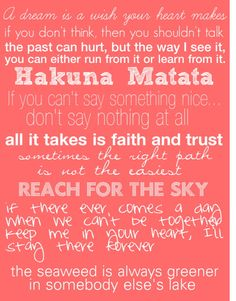 Disney Quotes! I want this in poster form for my classroom! Even if it's just for me to read daily: )