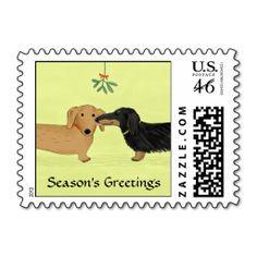 Dachshund Mistletoe Kiss - Wiener Dog Christmas Stamps
