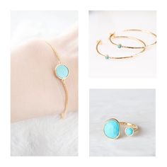 Excited to share the latest addition to my #etsy shop: Made for Mom, Charming set of Turquoise Jewellery including a Bracelet, Finger Ring and Hoop Earrings. *Turquoise jewellery set *Healing https://etsy.me/2JxFyBR #MothersDaygift #mothersdayspecial #canada