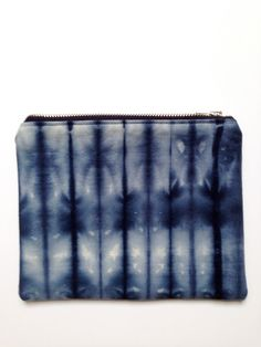 Shibori fabric zip pouch