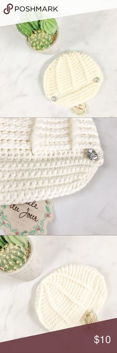 Cream Knit Beanie Brand new with tags! (0053)   PRODUCT DETAILS: •Size: One Size •Colors: Cream / Off White •Made in China  •Measurements: Unknown (Crazy Soft) •Messenger / Newsboy Style •Open Kit Crochet •Two Rhinestone Jewels •Hand Wash  Tags: winter fall hat sweater accessory fashion Accessories Hats