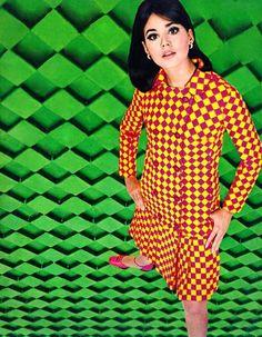 Collen Corby in geometric mod fashions.