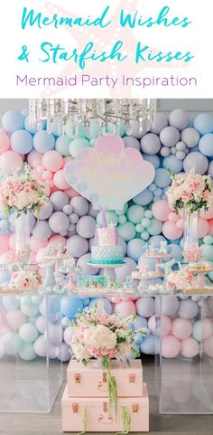 Party Inspiration: Mermaid Wishes & Starfish Kisses , Mermaid Party Decorations, Mermaid Parties, Kids Birthday Themes, 1st Birthday Parties, Tea Parties, Party Fotos, Party Queen, Unicorn Party Supplies, Diy Party