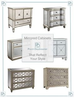 Are you scared to try mirrored furniture in your home like I was? Mirrored furniture is SO versatile. My first concern, as I was looking for new pieces to decorate my home, is Mirrored Furniture, Hooker Furniture, Cheap Furniture, Furniture Websites, Furniture Stores, Home Bedroom, Bedroom Decor, Interior Design Software, Bedroom Dressers