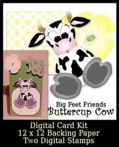 Big Feet Buttercup Cow Digital Stamp and Paper