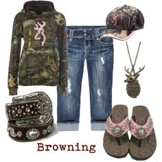 A fashion look from May 2012 featuring zip pants, deer jewelry and pink camo hat. Browse and shop related looks. Country Girls Outfits, Country Girl Style, Country Fashion, Country Life, Country Chic, Southern Style, Country Attire, Country Quotes, Southern Charm