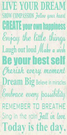 Artissimo Designs Live Your Dream 1-Piece Sign Image Printed Canvas Art