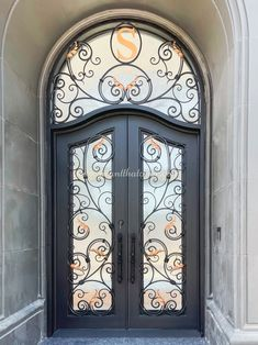 """Have you ever thought of building your own """"Iron Door"""" for your home? Contact us for a free quote! 💡 About this design: Custom Wrought Iron Door w/Transom ☎️️ 877-205-9418 🌐 www.iwantthatdoor.com Wrought Iron Doors, Quote, Building, Free, Design, Home Decor, Quotation, Decoration Home, Wrought Iron Gates"""