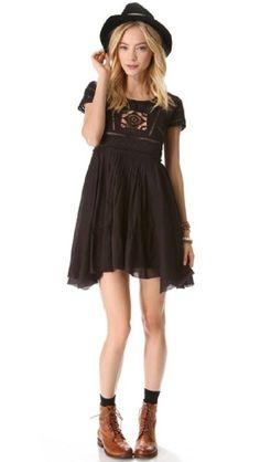 NWT $128 Free People Black Widow Dress S Small