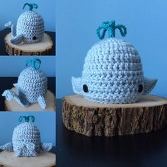 Baby Blue Whale crochet hat with bendable tail. I used pipe cleaners to make the tail bend or lay flat