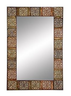 Aspire Embossed Metal Frame Wall Mirror 36 Multicolor -- Find out more about the great product at the image link.