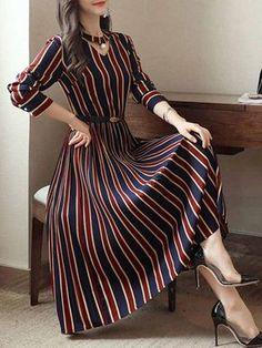 Round Neck Cutout Vertical Striped Belt Midi Skater Dress - berrylook.com