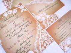 Elegant Lace Wedding invitations  White and by DesignedWithAmore