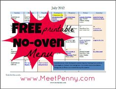 I need this since our oven is broken. Free printable OVEN-FREE menu for July with planners too!