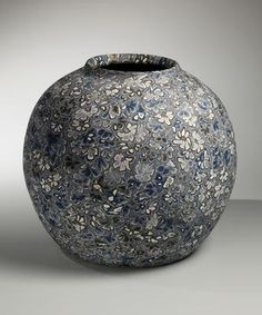 Large neriage (marbleized) vase comprised of blue abstract floral patterning 1988 Marbleized colored clay stoneware 12 x 13 1/2 in. Inv# 8626 SOLD Image