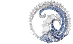 VAN CLEEF AND ARPELS Seven Seas Collection - Mer de Vent Brooch; Sapphires, Diamonds, Pears, White Gold