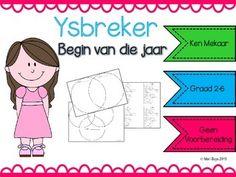 Afrikaans Begin van die Jaar Ysbreker Venn Diagram Prep School, Afrikaans, Spelling, Classroom Ideas, Diagram, Van, Teacher, Printables, Student