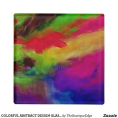 COLORFUL ABSTRACT DESIGN GLASS COASTER