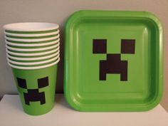 16 Minecraft plates and cups party decoration by diapercake4less, $9.60