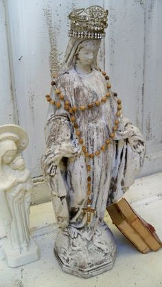 Virgin Mary cement statue with hand made crown by AnitaSperoDesign, $170.00