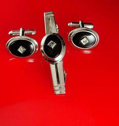 Diamond cufflinks Tie clip Vintage silver by NeatstuffAntiques