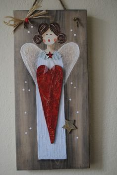 Christmas Wood Crafts, Handmade Christmas Decorations, Christmas Angels, Christmas Crafts, Christmas Ornaments, Rock Crafts, Diy And Crafts, Paint And Drink, Wood Angel